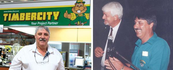 André van Greunen, eienaar van Pennypin-chers wat nou weer Timbercity word. Regs is Van Greunen saam met Zac du Plessis met die opening van Timbercity in 1994.