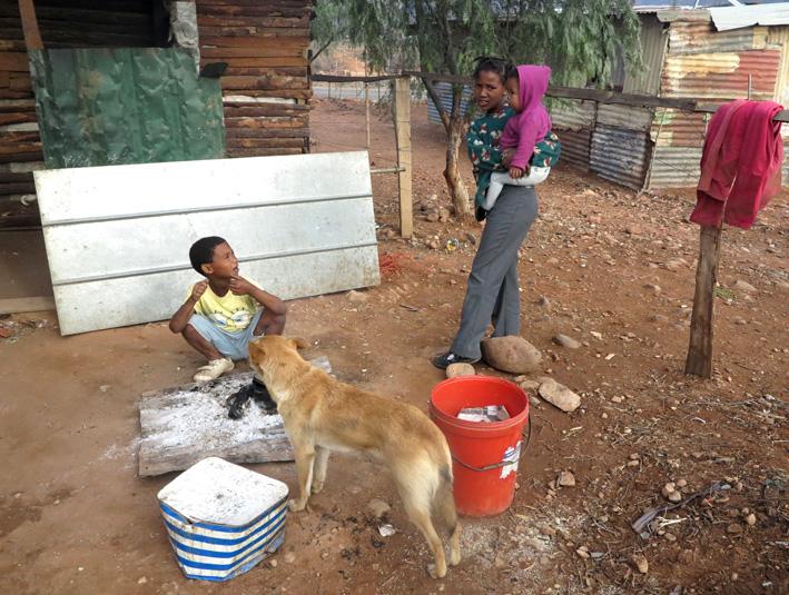 KInders en 'n hond voor een van die huise in Volmoed wat nou ook by sonkrag baat.