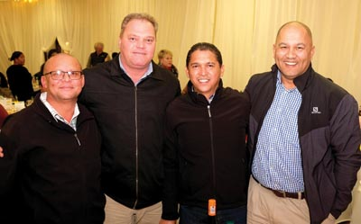 Onder die verskaffers was (van links) John Carolus, Barry Jacobs, Warren Goliath en Clint Wicomb. Al vier is van PPC Cement.