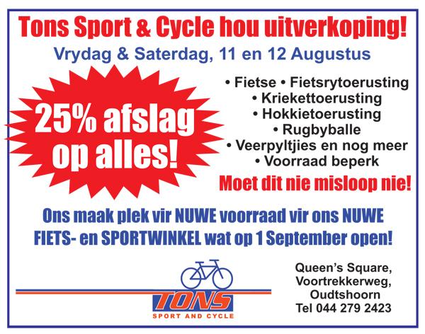 Tons Sport & Cycle hou uitverkoping!
