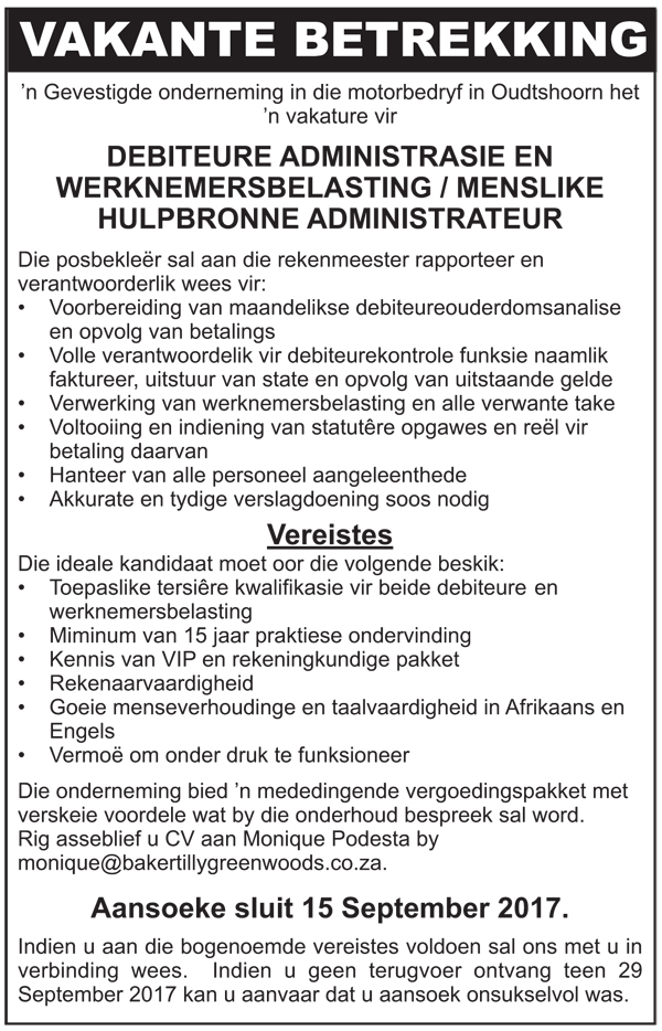 Vakatures / Vacancies