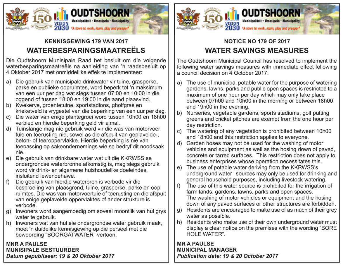 Waterbesparingsmaatreëls / Water Saving Measures