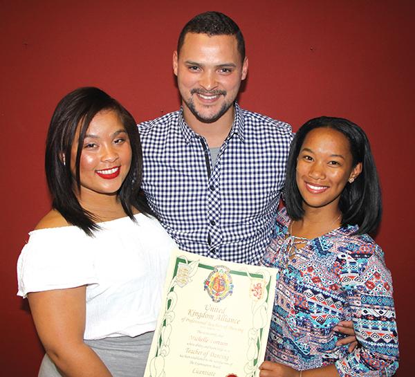 Die drie plaaslike dansinstrukteurs wat hul internasionale sertifikate ontvang het, is van links Michelle Fortuin, Rowan Strydom en Kay- Lee Brinkhuis. Foto: Wyndham Ewerts