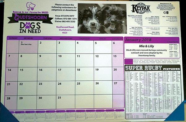 Oudtshoorn Dogs in Need (ODIN) verkoop lessenaar-kalenders