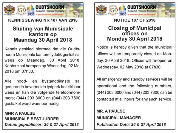 Sluiting van Munisipale kantore