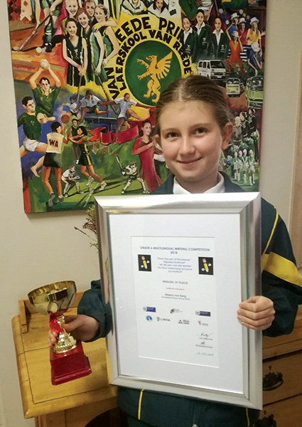 Meera von Berg of Van Reede Primary awarded third prize in Grade 6 multilingual writing competition