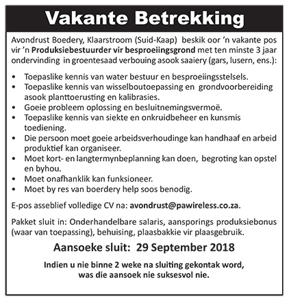 Vakante Betrekkings / Vacancies