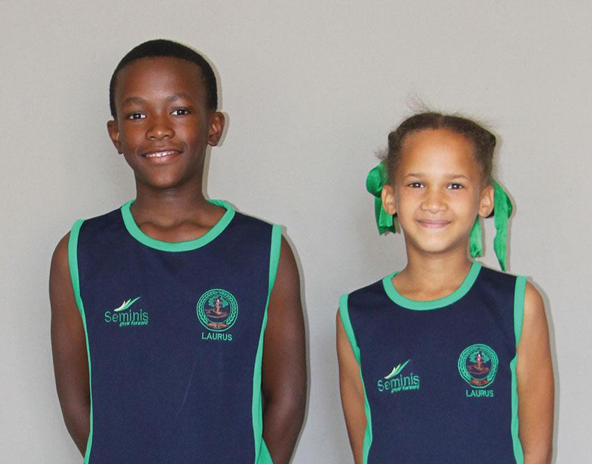 Twee leerders van Laerskool Laurus blink uit by die Eden Laerskole-atletiek-kampioenskap